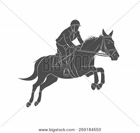 Equestrian Sports, Horse jumping, Show Jumping, Horse with jockey rider jumping over hurdle on competition. Vector illustration poster
