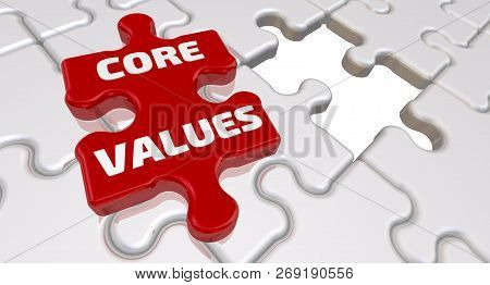 Core Values. The Inscription On The Missing Element Of The Puzzle. Folded White Puzzles Elements And