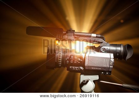 video camera against the shiny background