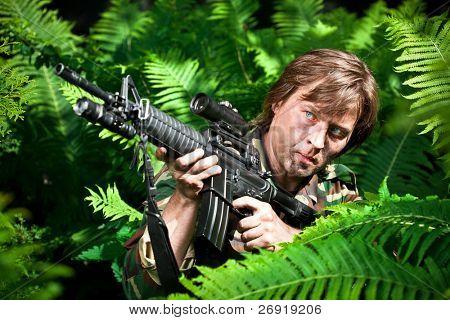 soldier holding the gun