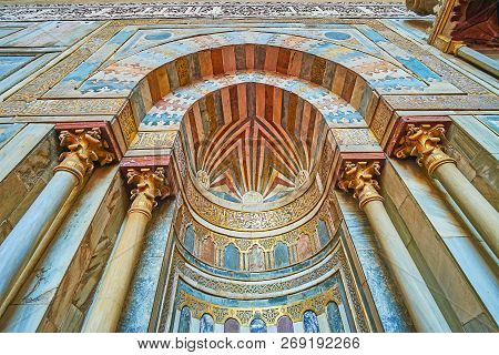 Cairo, Egypt - December 21, 2017: The Close-up Of The Medieval Mihrab Of Sultan Hassan Mosque-madras