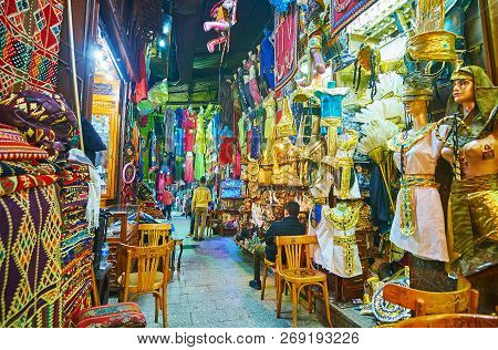 Cairo, Egypt - December 21, 2017: The Tourist Alley Of Souk Khan El Khalili With Different Gifts And
