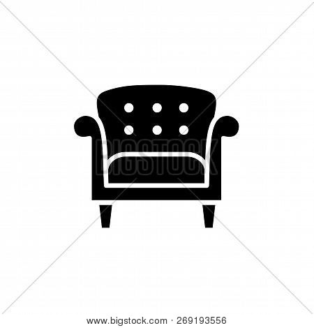 Black & White Vector Illustration Of Vintage Style Leather Armchair. Flat Icon Of Retro Arm Chair Se