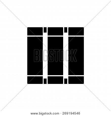 Black & White Vector Illustration Of Vertical Window Blind. Flat Icon Of Japanese Panel Shade & Jalo