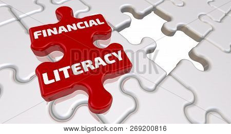 Financial Literacy. The Inscription On The Missing Element Of The Puzzle. Folded White Puzzles Eleme