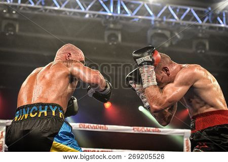Boxers Ismael Garcia And Denys Berinchyk In The Ring