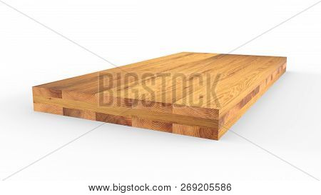 Glued wood structure. Lumber industrial wood texture, timber butts background. Butt end of a processed wooden beam. Glued beams. 3d illustration isolated poster