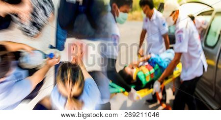 Blurred Education Healthcare First Aid Of Cpr Training Medical Procedure, Demonstrating Chest Compre