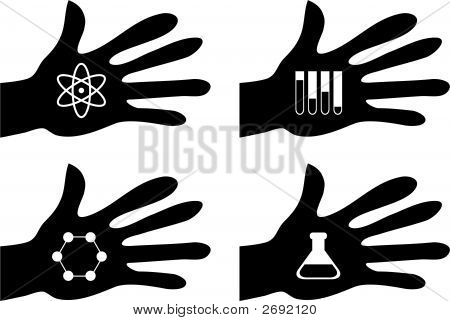 collection of silhouette hands holding science related icons poster