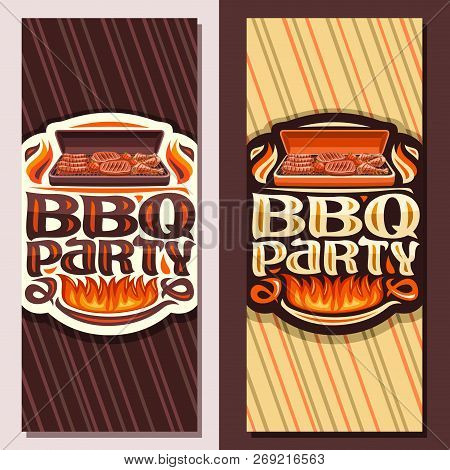 Vector Banners For Bbq Party, Invite Tickets With Roasted Frankfurters, Fresh Tomatoes, Juicy Beefst