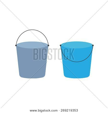 Cartoon Buckets. Water Pails, Metal And Plastic Bucket. Isolated Vector Set. Collection Of Bucket Co