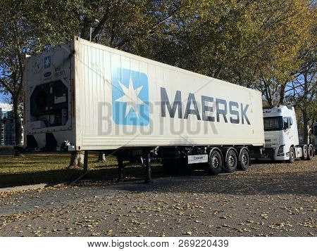Almere, The Netherlands - November 17, 2018: A Maersk Refrigerated Trailer For Cool Transport By The