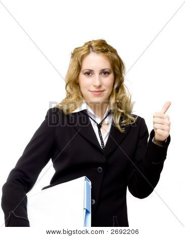 Attractive Businesswoman With Thumbs Up Showing Everything Is Ok