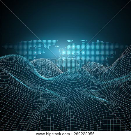 3d Abstract Virtual Landscape, Cyberspace Grid, Network Design With Spotted World Map - Technology B