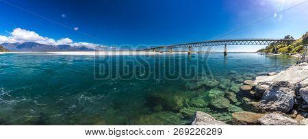 New Zealand's longest one-lane bridge over the Haast River, South Westland