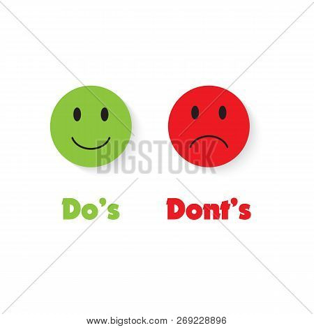Do's And Don'ts With Green And Red Smile. Sign Post Indicating Do's Vs Don'ts. Vector Illustration