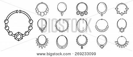 Necklace Jewelry Icon Set. Outline Set Of Necklace Jewelry Vector Icons For Web Design Isolated On W