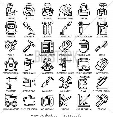 Welder Equipment Icon Set. Outline Set Of Welder Equipment Vector Icons For Web Design Isolated On W