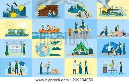 Migrant banner set. Flat illustration of migrant vector banner set for web design poster