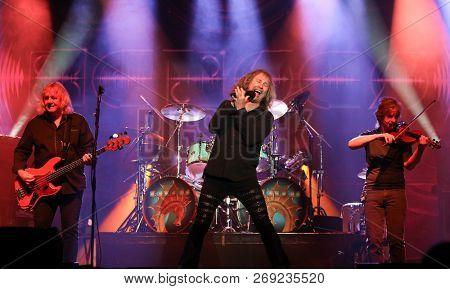 HUNTINGTON, NY - NOV 16: (L-R) Billy Greer, Ronnie Platt and David Ragsdale of Kansas performs at the Paramount on November 16, 2018 in Huntington, New York.