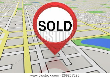 Sold Deal Closed Final Offer Accepted Map Pin 3d Illustration