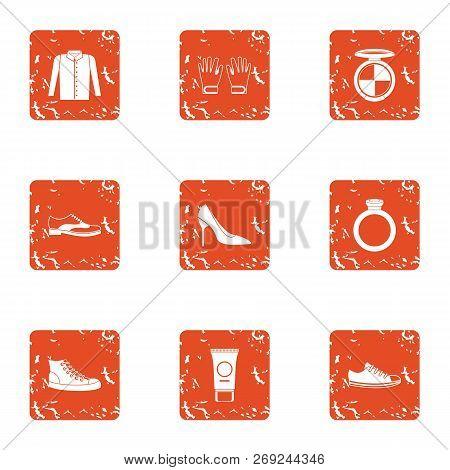 Female Beginning Icons Set. Grunge Set Of 9 Female Beginning Icons For Web Isolated On White Backgro