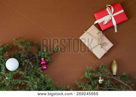 Christmas Background New Year Coniferous Branches Presents Winter