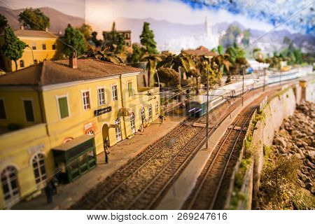 Model Of Small Railway Station With Train Approaching