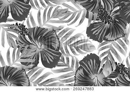 Black white exotic pattern. Monstera leaves and hibiscus flowers in summer print.  Saturated large floral swimwear print. Horizontal romantic wild vector exotic tile. Bonny spring botanical design. poster