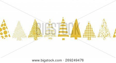 Christmas Trees Border. Christmas Trees In A Row Vector Seamless Pattern. Geometric Tree Silhouettes