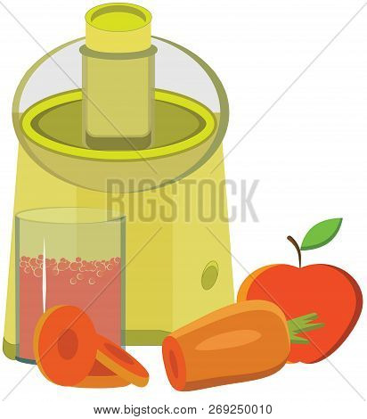 Uicer, Fresh, Carrot Juice, Apple Vector Illustration It Is Maybe Used For Any Professional Project