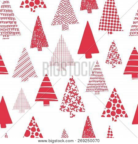 Christmas Trees Modern Vector Seamless Pattern. Red Christmas Tree Silhouettes On A White Background