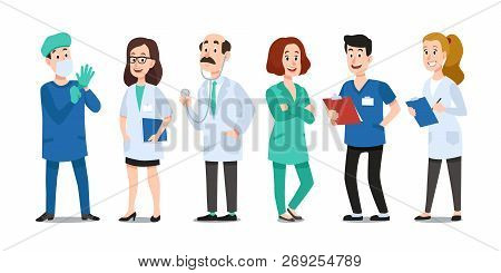Medicine Doctors. Medical Physician, Hospital Nurse And Doctor With Stethoscope. Medic Healthcare Wo