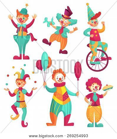 Circus Clowns. Cartoon Clown Comedian Juggling, Funny Clowns Nose Or Jester Party Circus Costume. Ve
