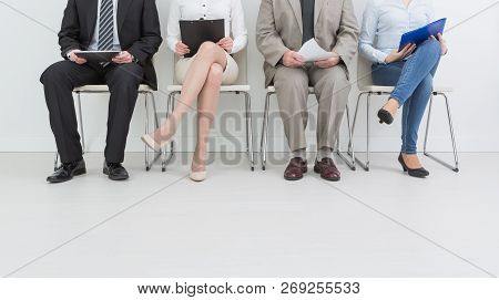 Hire Employment Employ Interview Candidate Hiring Legs Business Waiting Cv Women Sitting Queue Group