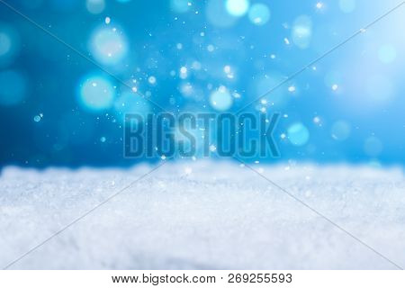 Snow Background Light Cold Empty Blue Space White Xmas Season Card January Frost Falling Concept - S