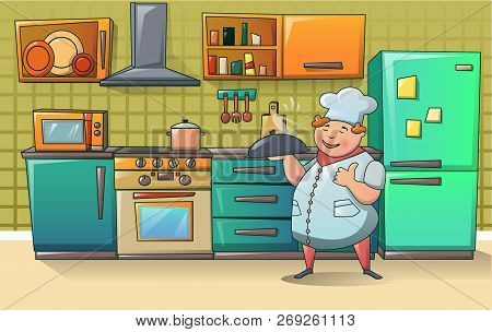Cooker Chef On Kitchen Character Banner Concept. Cartoon Illustration Of Cooker Chef On Kitchen Char