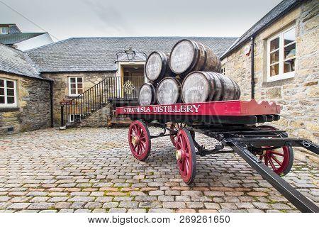 Keith, Scotland - October 7 2018: Strathisla Whisky Distillery, Speyside, Scotland. Scotland`s Oldes