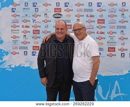 Giffoni Valle Piana, Sa, Italy - July 27, 2018 : Pascal Vicedomini And Claudio Gubitosi At Giffoni F
