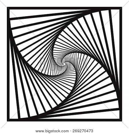 Inward Concentric  Rotating, Spirally Squares Abstract Geometric Background . Stairs Optical Illusio