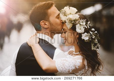 Couple In Love Looks One-on-one. Wedding Time, Just Married