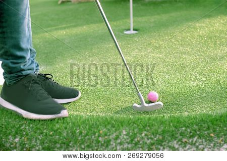 Golf Ball And Golf Club On Artificial Grass, Player Getting Ready