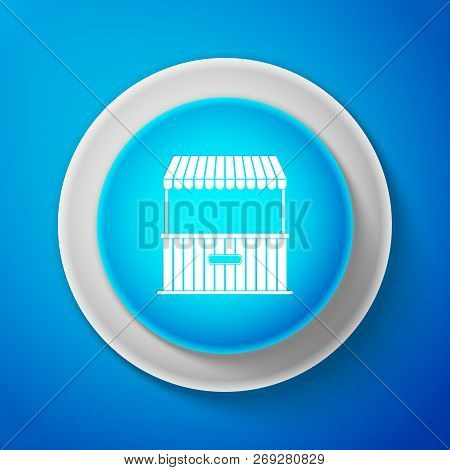 White Street Stall With Awning And Wooden Rack Icon Isolated On Blue Background. Kiosk With Wooden R