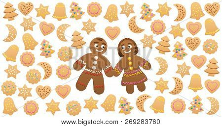 Gingerbread Man And Woman In Love Among Christmas Cookies With Different Familiar Shapes And Colorfu