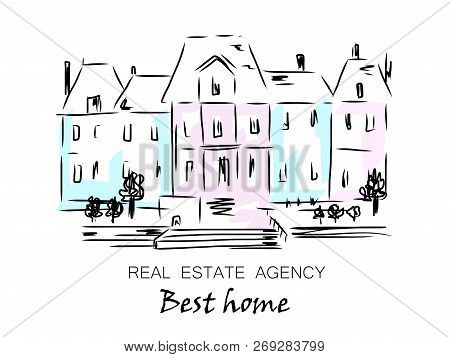 Sketch Of City House, Detached, Single Family Houses With Trees. Hand Drawn Cartoon Vector Illustrat