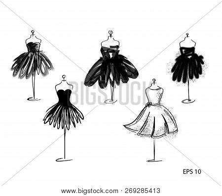Set Of Tailor Dummy Fashion Icon On White Background. Atelier, Designer, Constructor, Dressmaker Obj