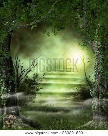 Concept Of Enchanting Forest Path Stairs Leading To A Heavenly, Magic Light, 3d Render
