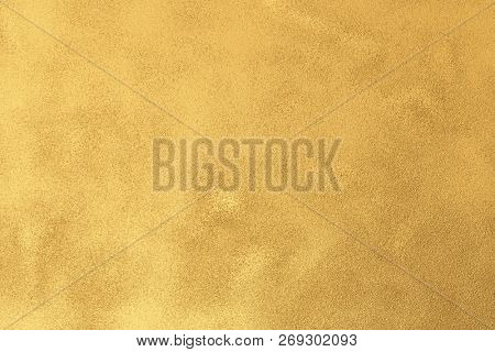 Gold textured surface background with light reflections. Golden textured wall. 3D rendering.
