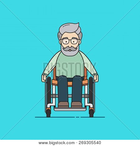 Illustration Of An Old Man On A Wheelchair