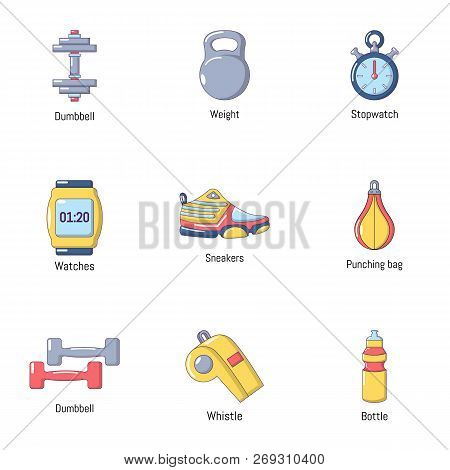 Workout Room Icons Set. Flat Set Of 9 Workout Room Vector Icons For Web Isolated On White Background